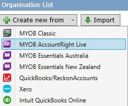 Create New from Organisation List