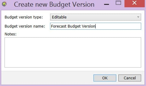 Create Budgets Version