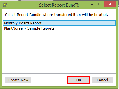 Select report bundle