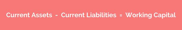Current Assets Current Liabilities = Working Capital