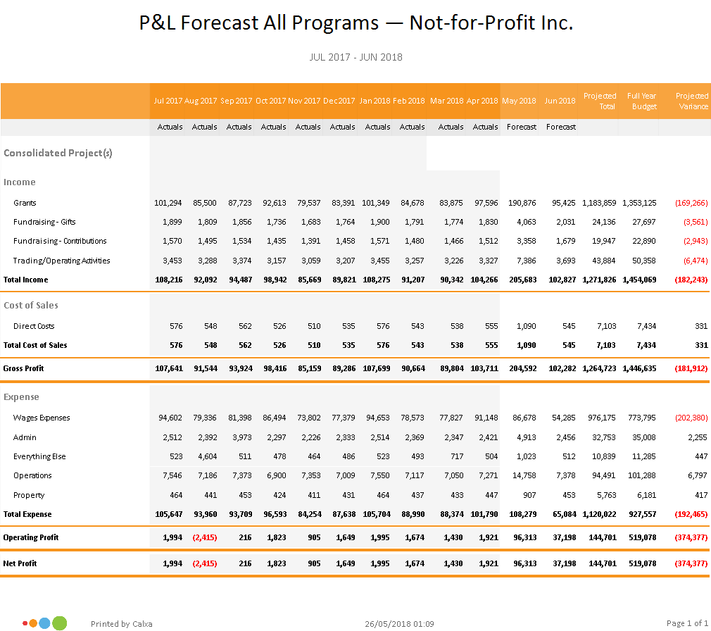 P&L Forecast with Consolidated Business Units