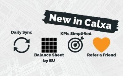 New in Calxa: Balance Sheet by Business Units and Daily Sync